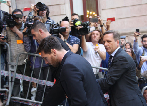 Leo Messi arriving at Barcelona's High Court (by ACN)