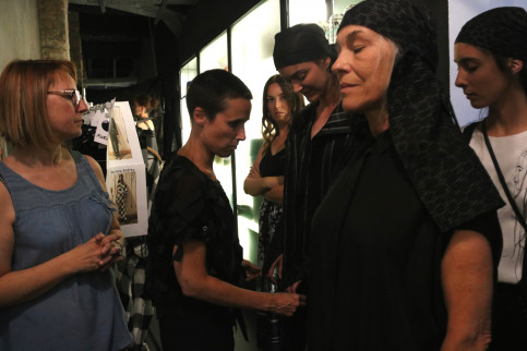 Míriam Ponsa and some of the models wearing her clothing on June 26, 2019 (Aina Martí/ACN)