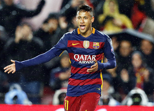 Neymar put Barça on top, 1–0, in the 18th minute (by FCB)