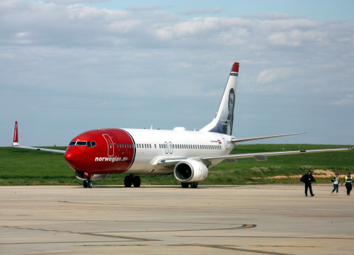 Norwegian airplane at Lleida-Alguaire airport, western Catalonia (by ACN).