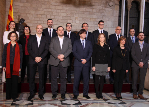 Image of the new Catalan Government, constituted today, with President Carles Puigdemont, Vice President and Catalan Minister for Economy, Oriol Junqueras, Catalan Minister for Presidency, Neus Munté and Catalan Minister for Foreign Affairs, Raül Romeva (