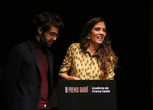 Núria Prims and David Verdaguer read the nominees to the 2018 Gaudí Awards (by Pere Francesch)