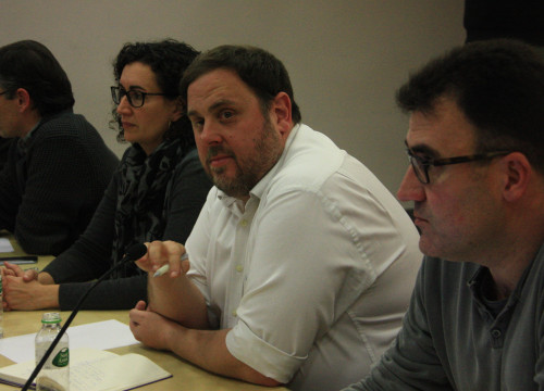 Image of ERC's leader, Oriol Junqueras and other members of the left wing party (by ACN)