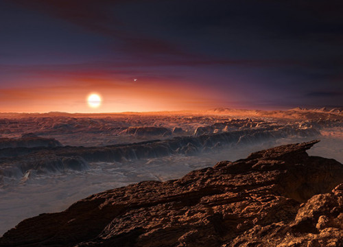 Artist's impression of the planet orbiting Proxima Centauri (by ESO)