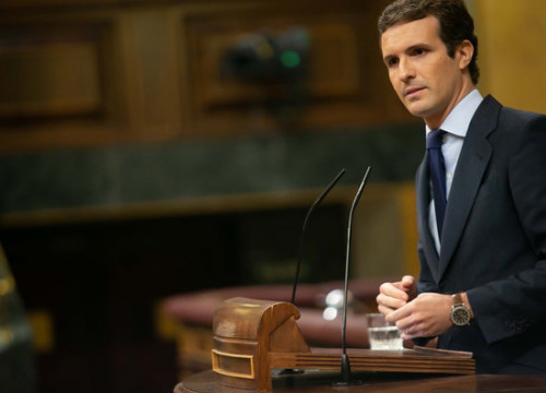 PP leader Pablo Casado at the Spanish Congress on October 24 2018 (photo courtesy of Spanish Congress)