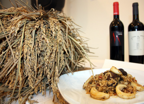 Image of Catalan wine and a local dish made with rice (by ACN)