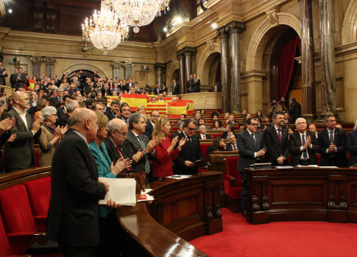 Image of the Parliament's plenary session in which the pro-independence declaration has been approved (by ACN)