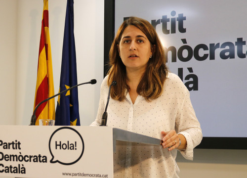 The General Coordinator of the Catalan Democratic Party (PDC), Marta Pascal, during a press conference (by ACN)