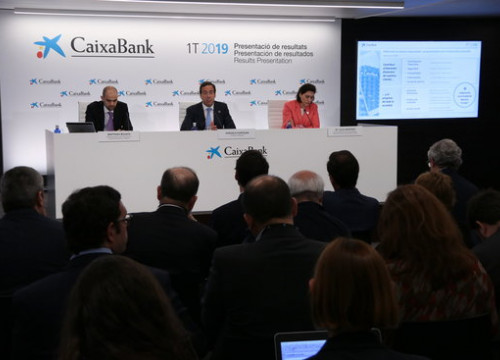 Press conference for the release of Caixabank's first trimester results on April 30 2019 (by Andrea Zamorano)