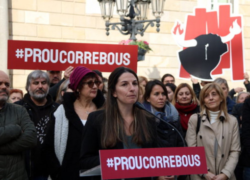 'Prou Correbous' spokesperson Aïda Gascón giving a speech at Plaça Sant Jaume in Barcelona on January 15, 2020 (by Elisenda Rosanas)