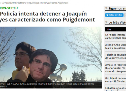 Humorist Joaquin Reyes with a Puigdemont mask (by Vertele /El Diario)