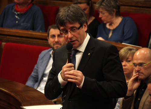 Catalan President, Carles Puigdemont, during the plenary session this Wednesday (by ACN)