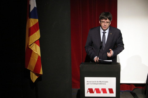Catalan President, Carles Puigdemont, at the AMI's convention closure (by ACN)