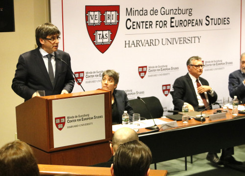 Catalan President, Carles Puigdemont, during his conference at the Harvard Kennedy School (by ACN)