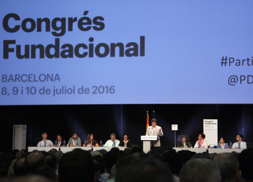 Catalan President, Carles Puigdemont, addressing the audience at the 18th CDC Congress (by ACN)