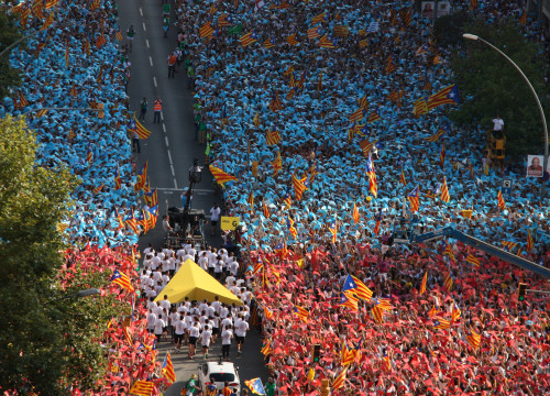 Aerial shot of one of the key moments of the massive demonstration 'Gateway to Catalan Republic' which took place in 2015 Barcelona, on Catalonia's National Day (by ACN)