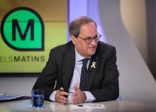 Torra during an interview on breakfast TV in Catalonia