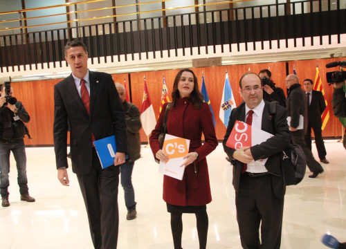 PPC's leader, Xavier García Albiol, Ciutadans' leader, Inés Arrimadas and PSC's leader Miquel Iceta, presenting their appeals before the TC last November (by ACN)