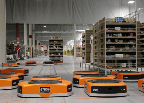 Robots at the Amazon warehouse in Castellbisbal, April, 26 2017 (By Àlex Recolons)