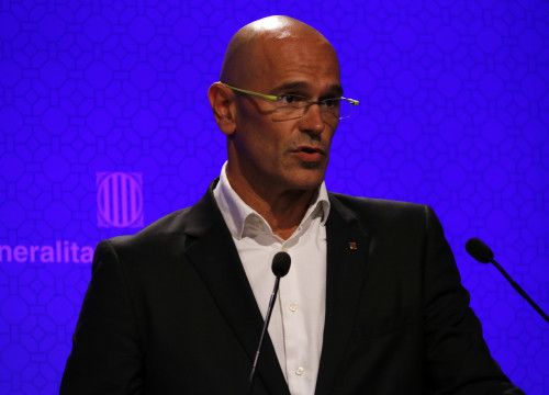 Catalan Minister for Foreign Affairs, Raül Romeva, during a press conference this Tuesday (by ACN)