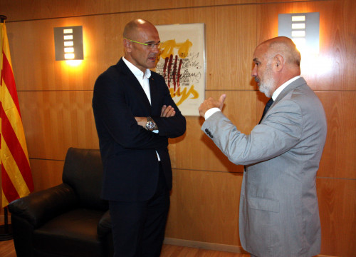 Catalan Minister for Foreign Affairs, Raül Romeva meeting the new Delegate of the Catalan Government to Portugal, Ramon Font (by ACN)