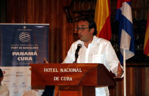 Catalan Minister for Territory and Sustainability, Josep Rull, at Cuba's Chamber of Commerce (by ACN)