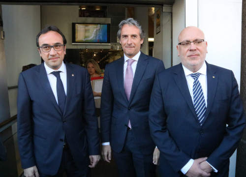 Catalan Minister for Territory and Sustainability, Josep Rull, Spanish Minister for Public Works, Íñigo de la Serna and Catalan Minister for Business and Knolwedge, Jordi Baiget (by ACN)