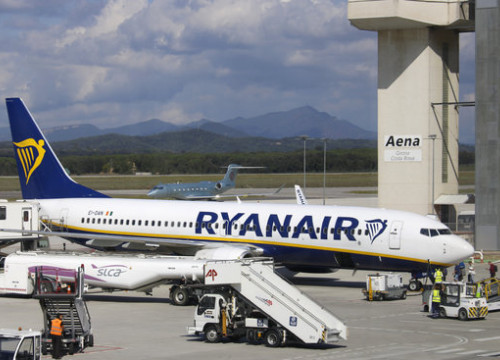 Ryanair plane at the Girona airport on October 2, 2019 (by Aleix Freixas)