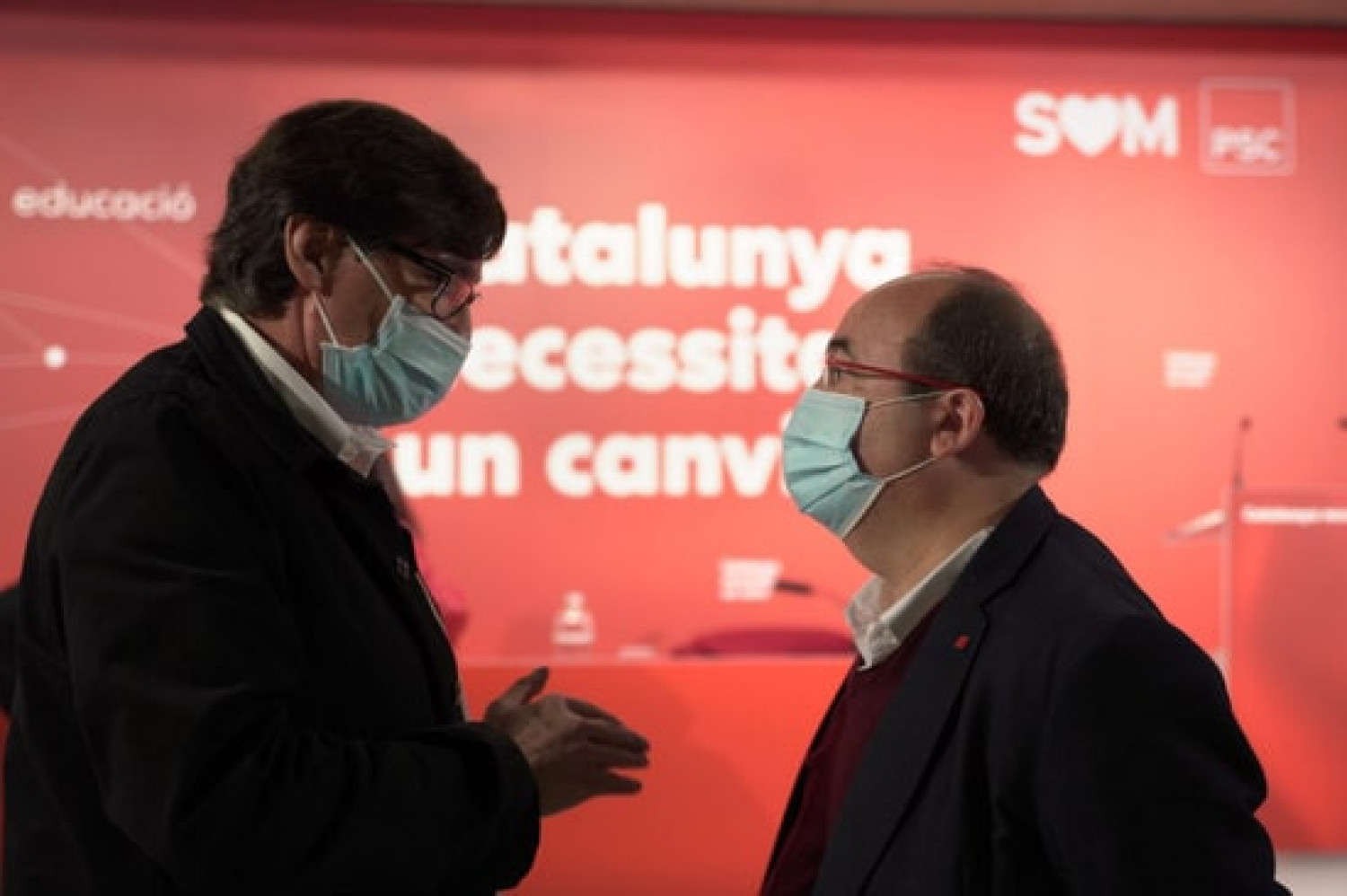 Salvador Illa, left, and Miquel Iceta, right (Courtesy of the Catalan Socialists)
