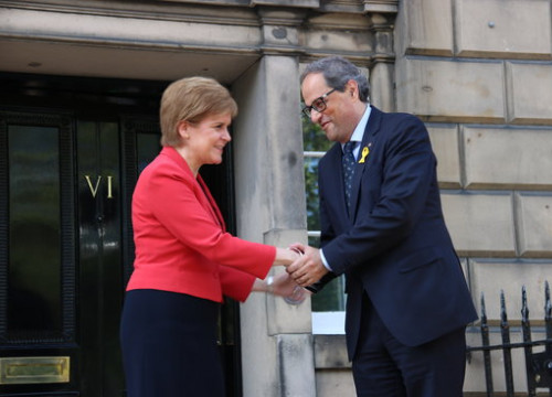 Scottish First Minister Nicola Sturgeon and Catalan President Quim Torra in Edinburgh on July 11, 2019 (by Laura Pous)