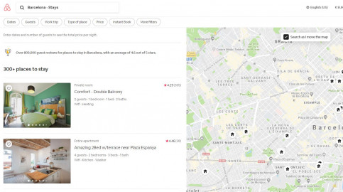 Screenshot of Airbnb website results for tourist apartments in Barcelona