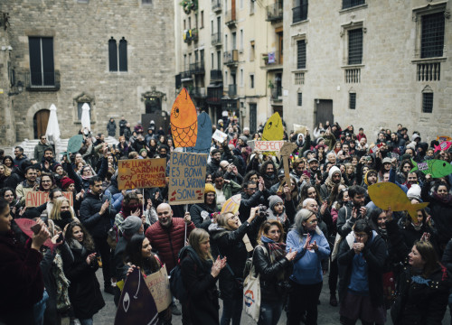 Some 500 people came together in the Italian sardines movement's first public protest in Barcelona (© Alice Brazzit)
