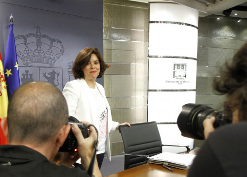 Current Spanish Vice President, Soraya Sáenz de Santamaría, during a press conference (by ACN)