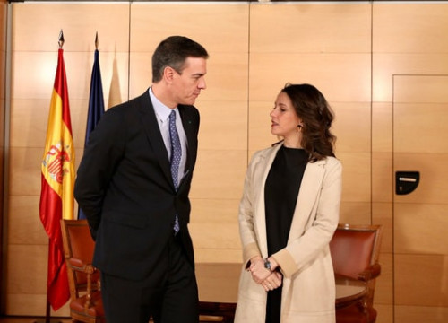 Spanish president Pedro Sánchez with head of Ciudadanos Inés Arrimadas (Courtesy of PSOE)
