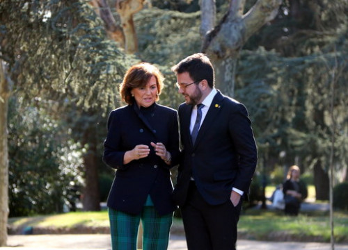 Spanish vice president Carmen Calvo and Catalan vice president Pere Aragonès in Madrid on February 26, 2020 (by Gemma Tubert)