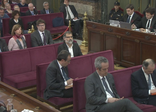 The defendants in the Catalan independence trial at the Spanish Supreme Court on April 10