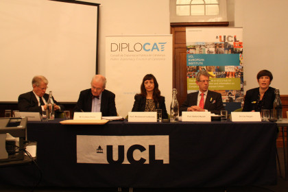 The conference at the UCL. From left to righ: Sir David Edward, Graham Avery, Montserrat Guibernau, Robert Hazell and Uta Staiger (by ACN)
