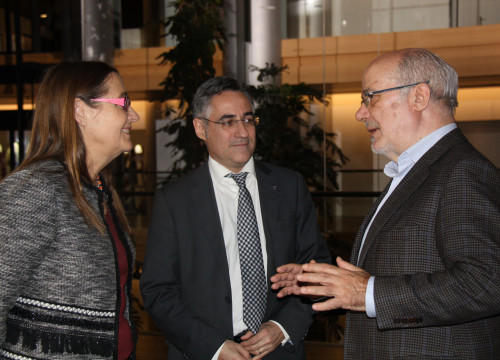 From left to right, Swedish MEP Bodil Valero, Liberal CDC's MEP Ramon Tremosa and left wing pro-independence ERC's MEP, Josep Maria Terricabras (by ACN)