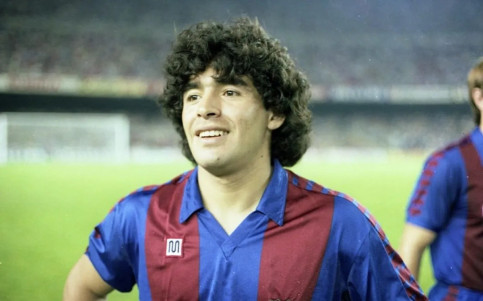 Diego Armando Maradona photographed on the pitch during his time at Barcelona (image from FC Barcelona website)