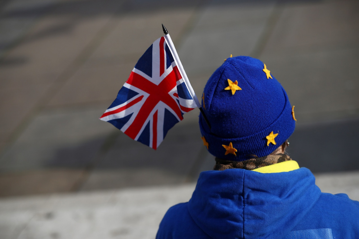 Person wears EU hat, as they wave the UK flag (by the EBS)