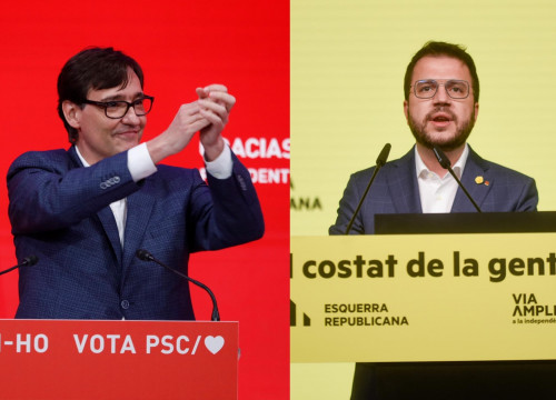Salvador Illa (left) and Pere Aragonès (right), the presidential candidates of the Socialists and Esquerra
