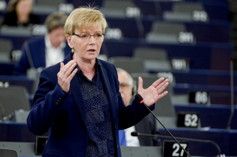 GUE / NGL MEP, Gabriele Zimmer, addressing the European Parliament in Strasbourg (by ACN)