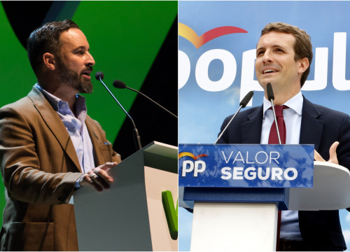 People's Party head Pablo Casado (right) opens doos to government deal with far-right Vox, led by Santiago Abascal (Pictures by Vox and Roger Segura)