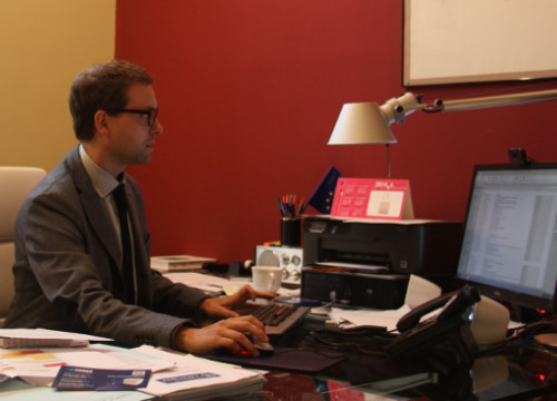 Albert Royo, working in his office (by Rebecca Lock)