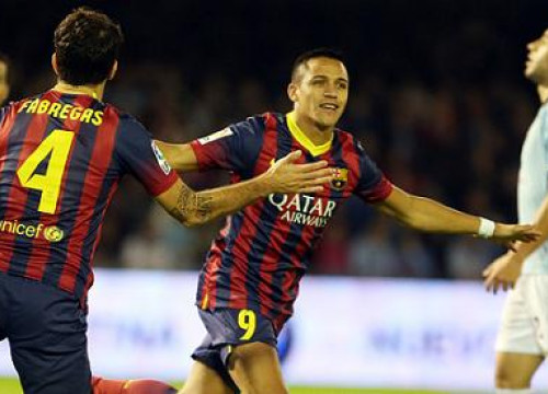 Alexis Sánchez and Cesc Fàbregas scored two of Barça's goals against Celta de Vigo (by FC Barcelona)