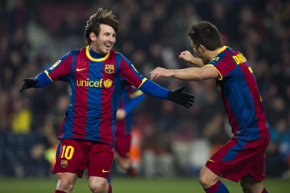 Messi and Villa scored against Almería (by FC Barcelona)
