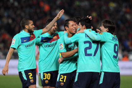 Barça players celebrate their way to the Spanish Cup final (by FC Barcelona)