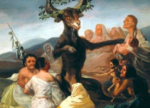 A section of the painting 'Witches' Sabbath' by Francisco Goya (1798)