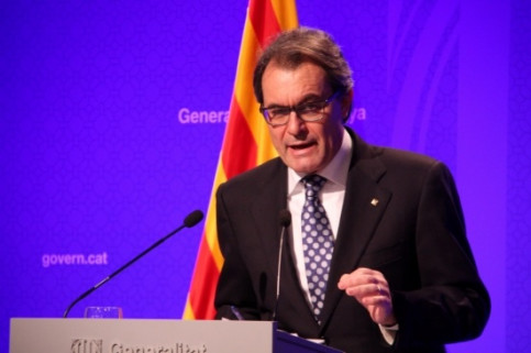 The President of the Catalan Government, Artur Mas, assessing the Executive's work during 2014 (by R. Garrido)