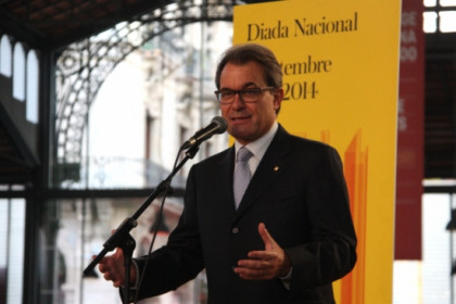 The Catalan President, Artur Mas, in the morning's ceremony on Catalonia's National Day (by P. Mateos)